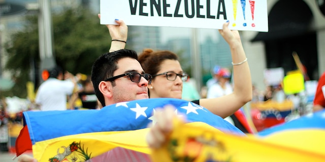 Houston, Texas, USA - February 23, 2014: Venezuelan citizens in Houston protest against the Venezuelan government and its perceived anti-Democratic policies.