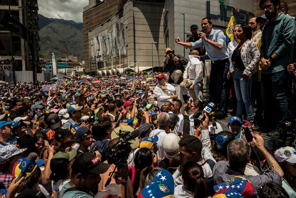 Mr. Guaidó led a large rally in Caracas in 2019.