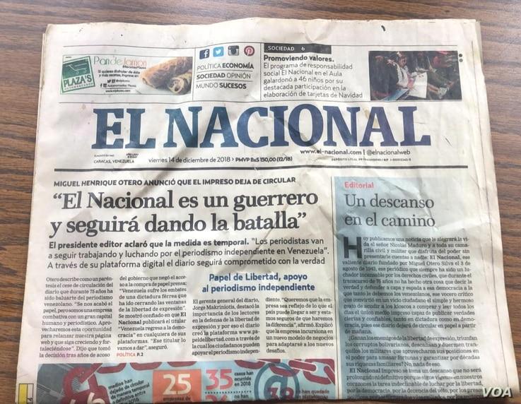 FILE - The last print edition of El Nacional, one of Venezuela's oldest newspapers, is seen in a December 2018 photo. (VOA/Adriana Nuñez Rabascall and Alvaro Algarra)